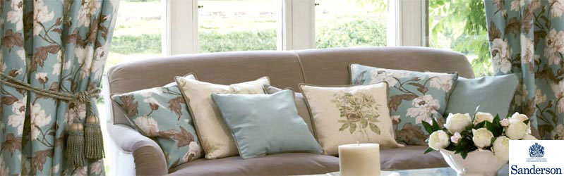 Curtains, tiebacks, cushions and soft furnishings from Sanderson's Country Linen, Charlbury collection