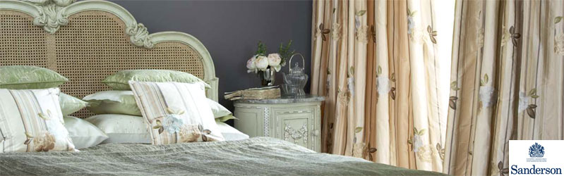 Bedroom curtains, cushions, bedspread and furnishings from the Sanderson Mereville collection