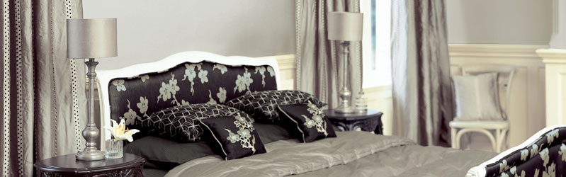 Bespoke, made to measure curtains, bedspread and cushions from the Villa Nova Yoshino collection